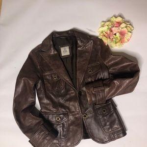 ESPRIT Moto Brown Leather Jacket Buckle Coat 4